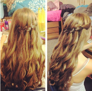 lauren for semi curls waterfall braid