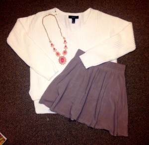 Sweater: Forever 21, necklace: Forever 21, skirt: Nordstrom