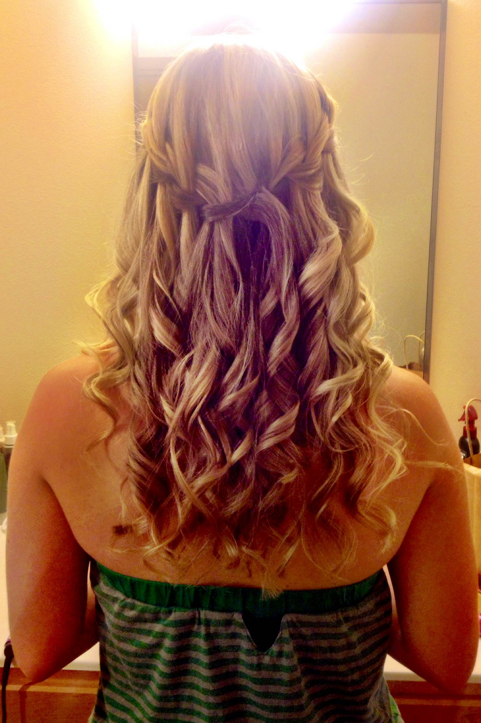 Peachy Today39S Hairstyle Loose Curls And A Waterfall Braid Seattle Short Hairstyles For Black Women Fulllsitofus