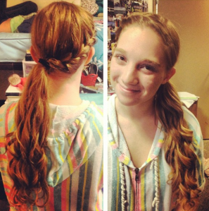 side ponytail french braid curls Dani Semi Formal