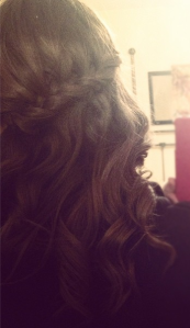 waterfall braid curly back